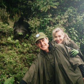 Ellen DeGeneres and wife trek Mountain Gorillas in Rwanda