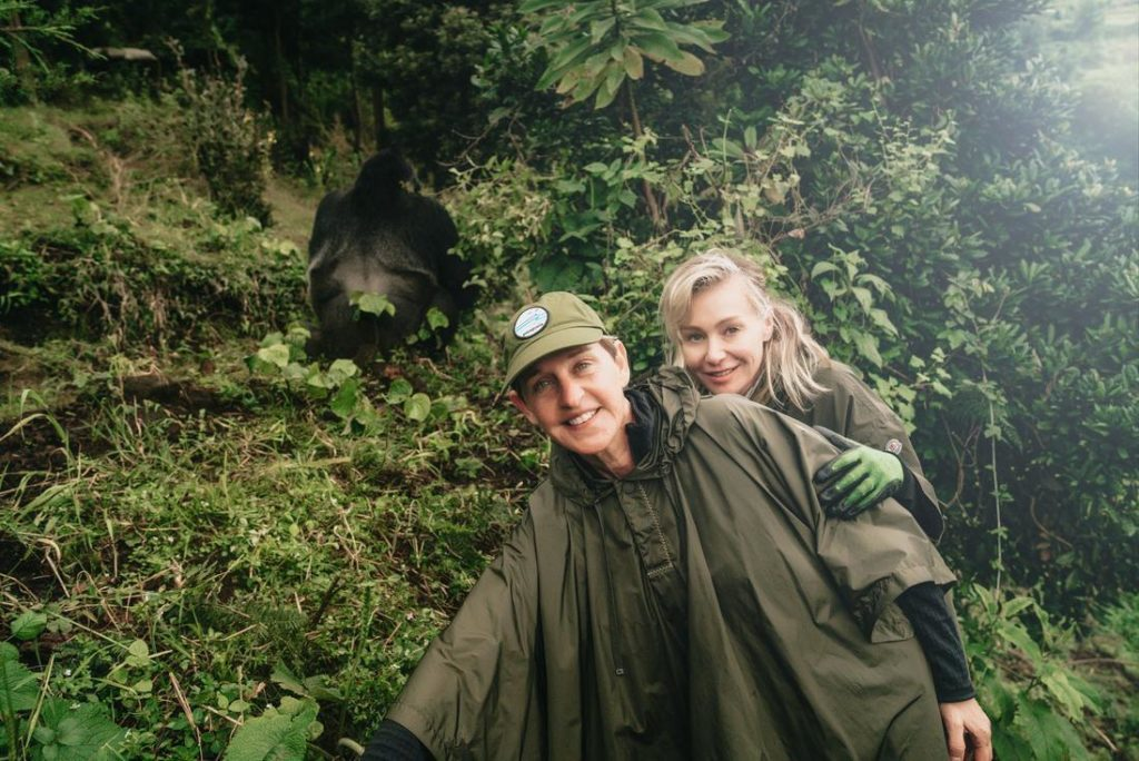 Ellen DeGeneres and wife trek Mountain Gorillas in Rwanda